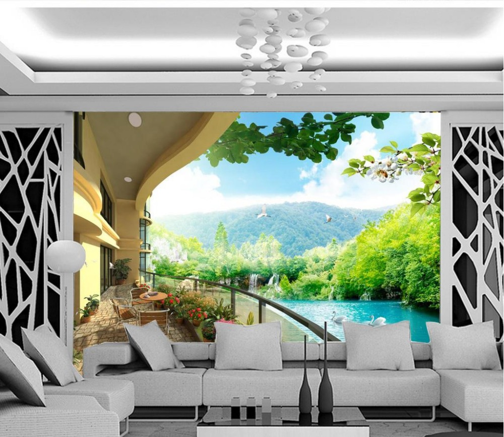 3d Wallpaper For Room Natural View Balcony Background Wall
