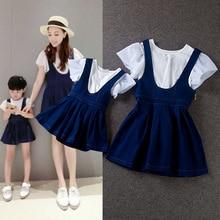 1970s twinset fashion ruffle short-sleeve T-shirt suspenders denim puff skirt parent-child set