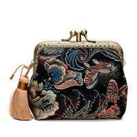 Tay Thực Tế Silk Thổ Cẩm Túi Ly Hợp Nhỏ Phụ Nữ Thanh Lịch Chic Tua Cash Card Bag Ladies Designer Cổ Điển Mini Hand-Túi cầm