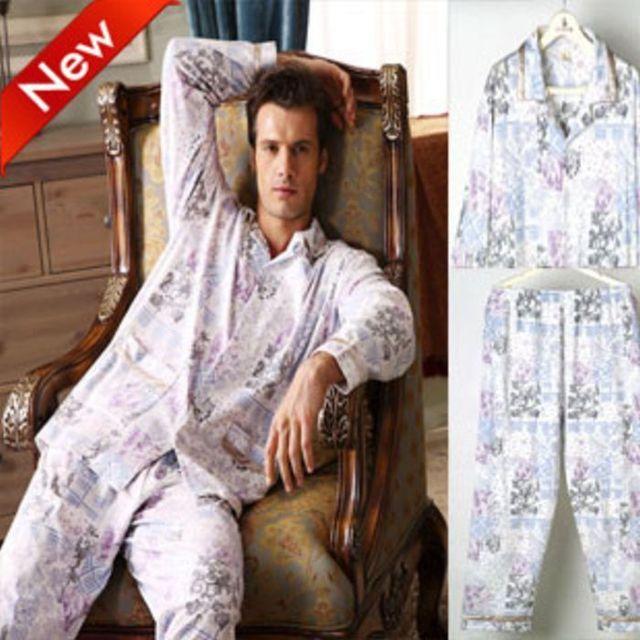 Salão primavera sleepwear homens de algodão de manga comprida conjunto de malha z1023