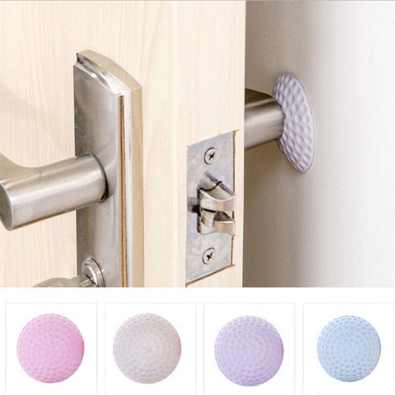 4pcs Colorful Rubber Useful Practical Door Handle Bumper Guard Stopper Self Adhesive Wall Protectors Crash Pad Stops Stick Door