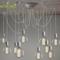 White Spider Chandelier Lamp With Iron Cover Vintage Retro Pendant Lamps E27 Edison Creative Decorative DIY