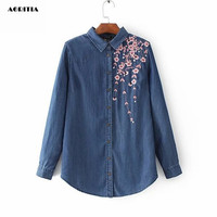 2017 Women Embroidery Jeans Shirts Long Sleeve Turn Down Collar Denim Blouse Vetement Femme Jeans Top