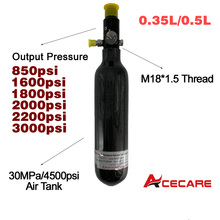 Acecare Paintball/Pcp Air Rifle Mini Scuba Diving Air Tank Regulator Carbon Fiber Cylinder 0.35L/0.5L M18*1.5 Pcp Tank Regulator