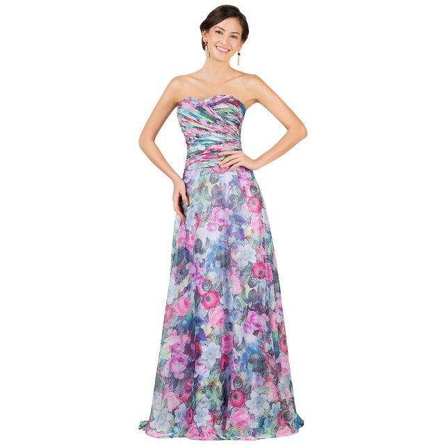 Шифон Цветок Печати Вечерние Платья Длинные Бретелек Платье Платье de Festa Женщины Элегантный Платье 2017 Вечерние Платья