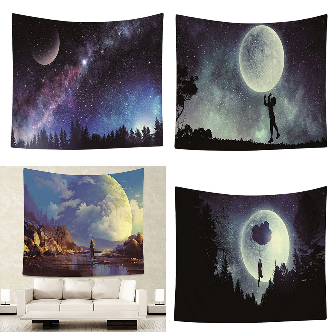 Night Sky Wall Tapestry Decor Wall Hanging Towel Forest Starry Night Tapestries