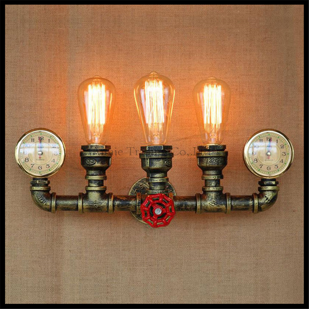 Steam punk Loft Industrial iron rust Water pipe retro wall lamp Vintage E27 sconce lights for living room bedroom restaurant bar набор с торцевыми головками force f 4173 5