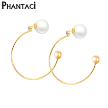 Фотография 2017 New Designer Big Circle Simulated Pearl Hoop Earrings For Women Lady Female Fashion Gold Color Earring Jewelry
