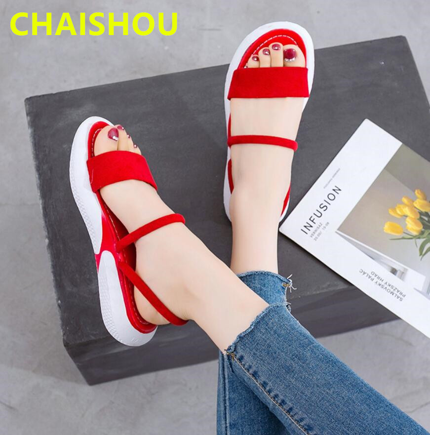 CHAISHOU Female Sandals Slippers Thick-Soled Flat Summer New Stylish Cake B-473 Sponge