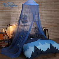 Blue Baby Tent With Shinny Star Crib Netting Palace Children Room Bed Curtain Hung Dome Kids