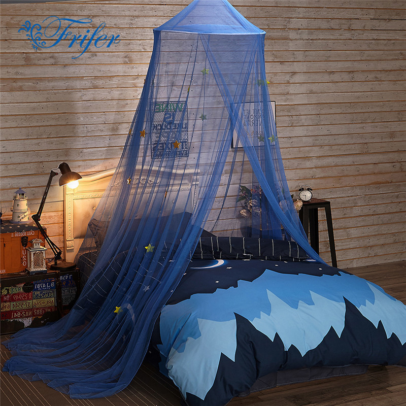 Blue Baby Tent With Shinny Star Crib Netting Palace Children Room Bed Curtain Hung Dome Kids Girls Mantle Mosquito Net Tents