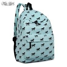 Miss Lulu Unisex Horse Pony  Canvas Backpack School Shoulder Rucksack Bag 1401