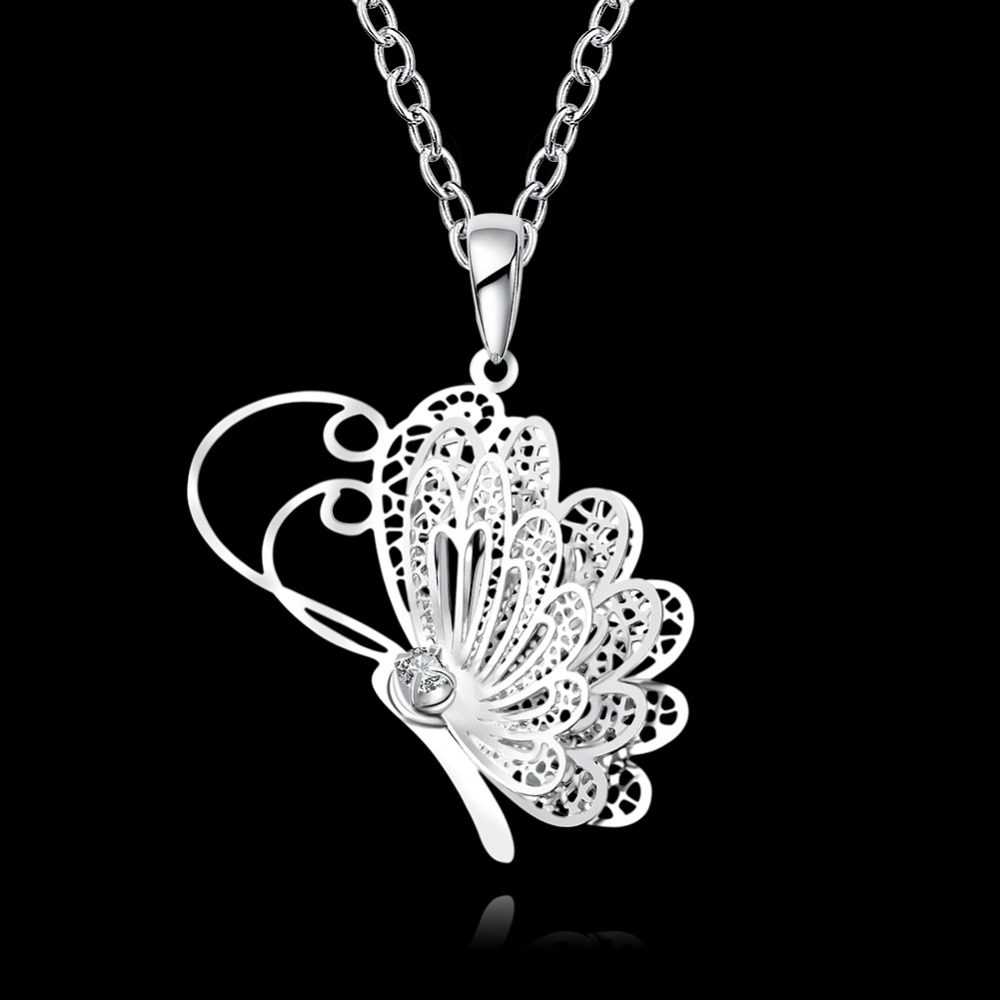 JEXXI Fine Jewelry 925 Sterling Silver Necklaces Charms Butterfly Pendants Necklaces For Women Smart Girls With Cubic Zirconia