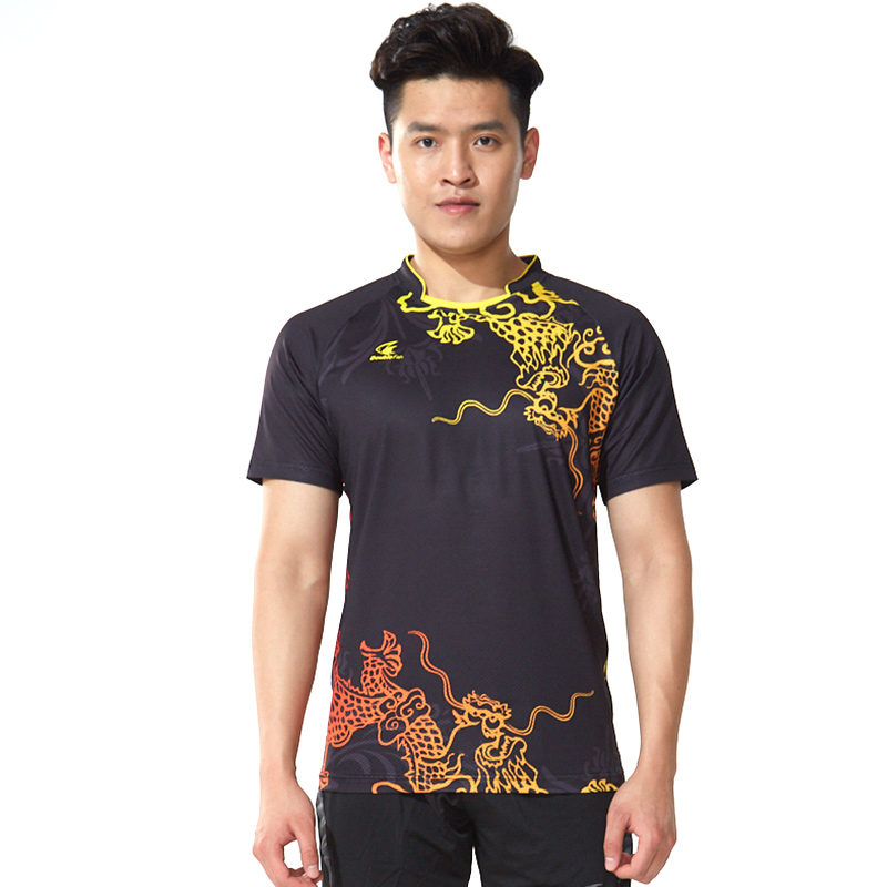 Double Fish Free Printing CHINA Dragon Table Tennis Men Women Clothes Ping Pong Wear Dry-Cool Table Tennis Short Sleeve T Shirt(China)