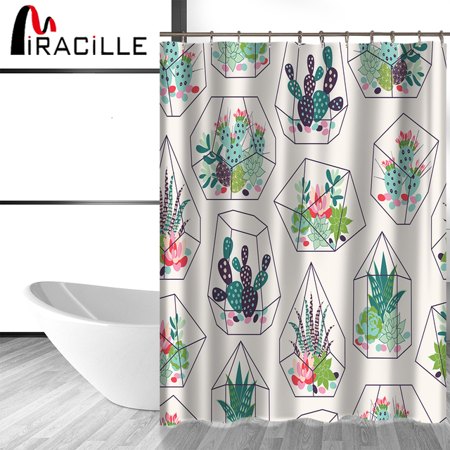 Miracille Green Potted Plants Cactus Succulents Print Shower ...