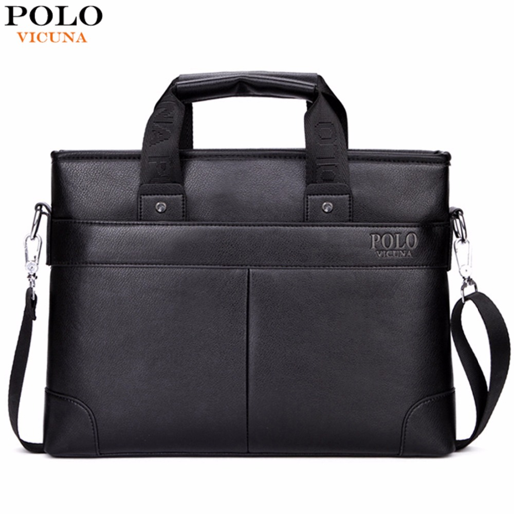 VICUNA POLO Promotion High Quality PU Leather Brand Mens Briefcase Classic Business Leather Men Handbags maletin