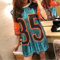 New Summer Sequined Women T Shirt 85 Letter Long Design Loose T Shirt Women Tops Tee Streetwear DJ Hip Hop Dance Clothes