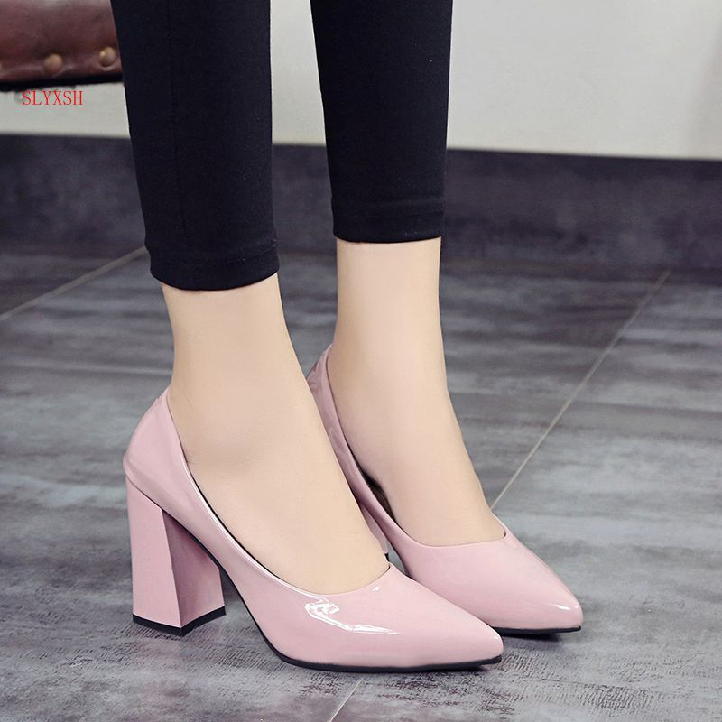 SLYXSH 2019 Spring And Autumn New Korean Version Of The Pointed Shallow Mouth Female Shoes Black Ladies High Heels Single Shoes