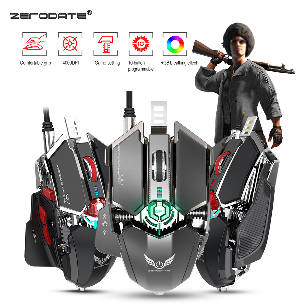 Zerodate LD MS500 Professional Programmable Gaming Mouse 4000DPI 10 Button Mouse Game Wired RGB Mechanical Mouse For PC Computer-in Mice from Computer & Office