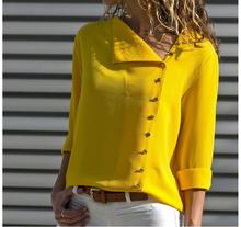 Irregular Skew Collar Button Blouse Shirt Women Casual Woven Chiffon Ladies Long Sleeve Womens Tops and Blouses Female Shirt недорого