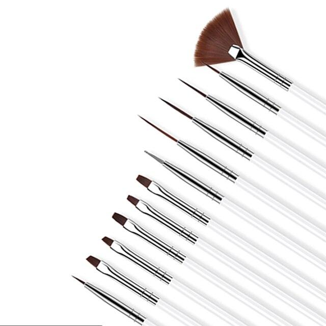 ROHWXY 12 PCS Acrylic Brush Nail Art Brush Carving Flower Nail Gel Pen UV Gel Drawing Painting Brush Handle Nail Art Tools 1