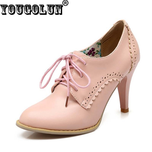 YOUGOLUN Sexy Women Lace up High Heels(9cm) Fashion Woman Thin Heel Party Shoes Elegant Lady Pointed Toe Pumps Black White Pink