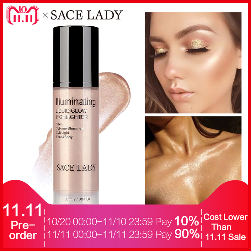 SACE LADY Illuminator Makeup Highlighter Cream for Face and Body Shimmer Make Up Liquid Brighten Professional Glow Kit Cosmetic блестки для макияжа nyx professional makeup face and body glitter 01 цвет 01 blue variant hex name 2b638a