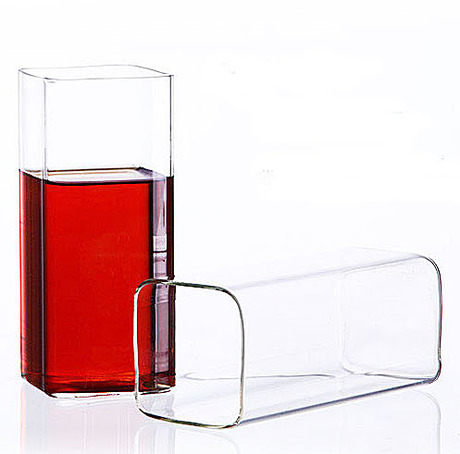 2PCS/LOT high temperature heat resistant glass square  fruit juice cup 350ml OS 0080
