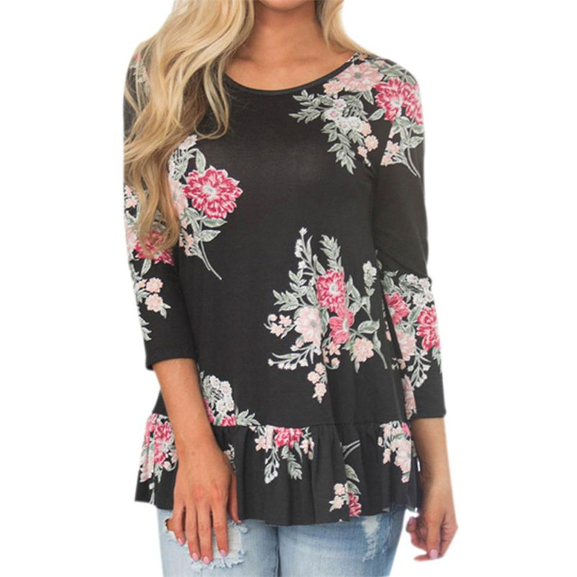 Spring Autumn t-shirt Women Print tshirt Long Sleeve O-Neck Floral Print Tunic Top Ruffles Hem T-shirt Loose Female Tops #TH