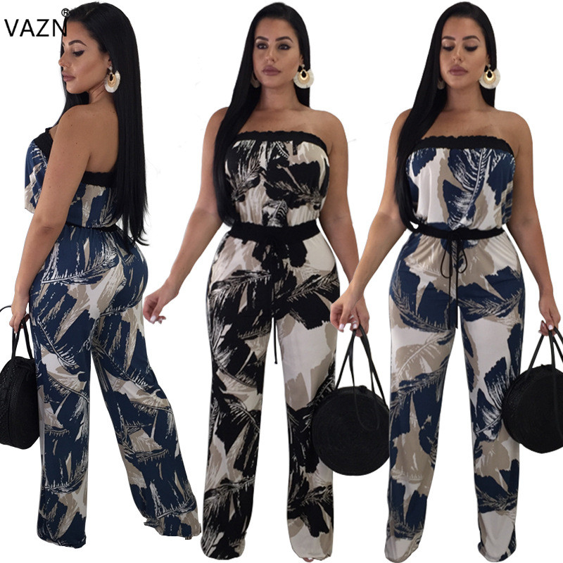 VAZN 2018 summer hot 2-colors print long jumpsuits women sexy strapless sleeveless jumpsuits ladies hollow out jumpsuits 2023