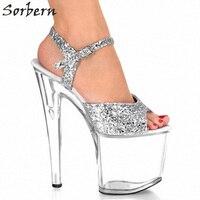 Sorbern Silver Sequins Ankle Straps Clear Ultra High Heels 20Cm Transparent Platform Heel Sandals Summer Shoes