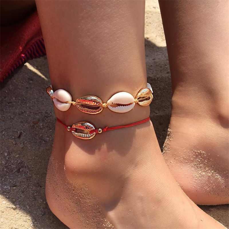 EN Shell женские браслеты для щиколотки Shell бижутерия для ног Летний Пляжный браслет со ступнями ног ножной браслет на ногу ремешок на лодыжке Богемные аксессуары