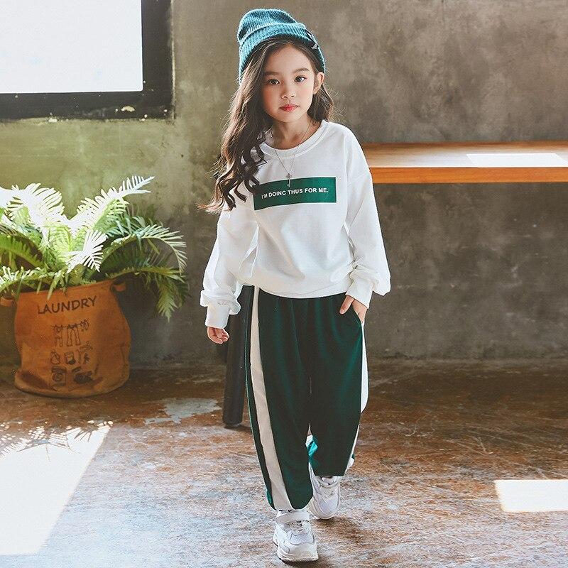 2019 Girl Tracksuit Clothes Set Kids Spring Autumn Cotton School Uniform Sport Suit Girls Clothing Sets 4 6 8 10 12 14 Year