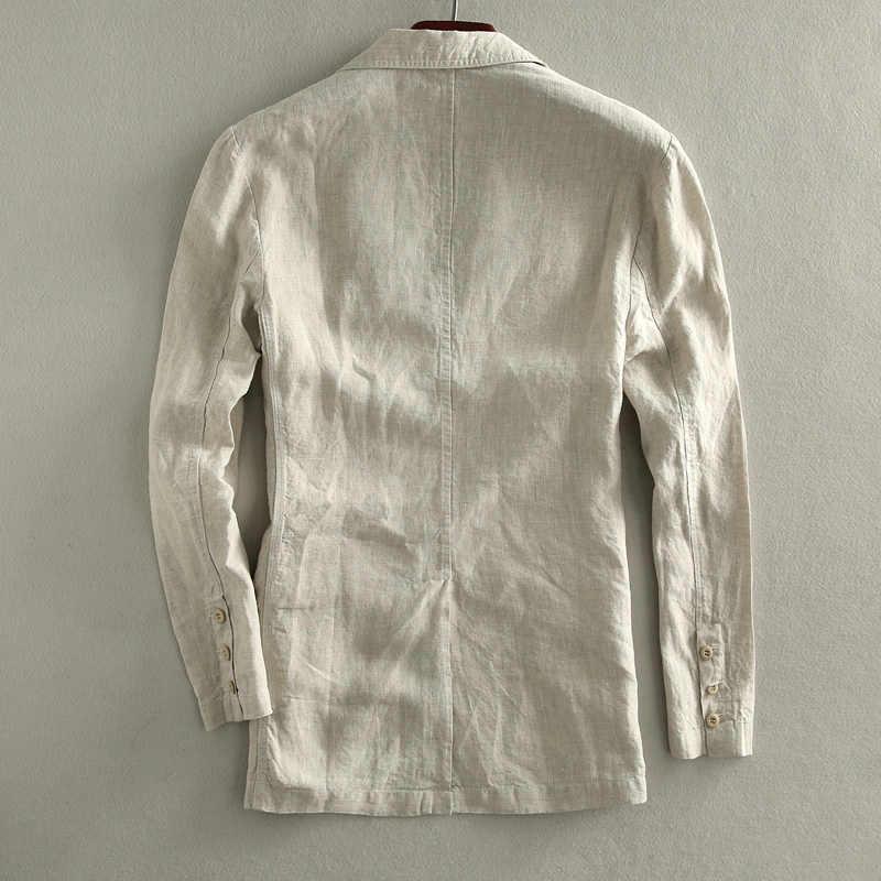 新しい到着春秋ジャケットリネンスーツ男性薄いカジュアルジャケットシングルブレストブレザー高品質サイズm l xl xxl