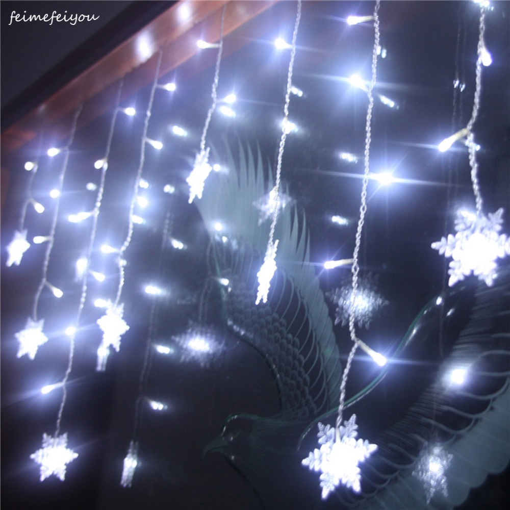 Feimefeiyou Waterproof 3.5M 96 LED Snowflake 8 Modes String Fairy Light For Christmas New Year Festival Wedding Eaves Decoration