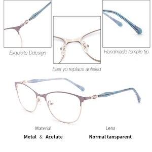 Image 3 - Metal Women Eyeglasses Frame Square Glasses Frame for Myopia 2019 Fashion Lavender Color for Women