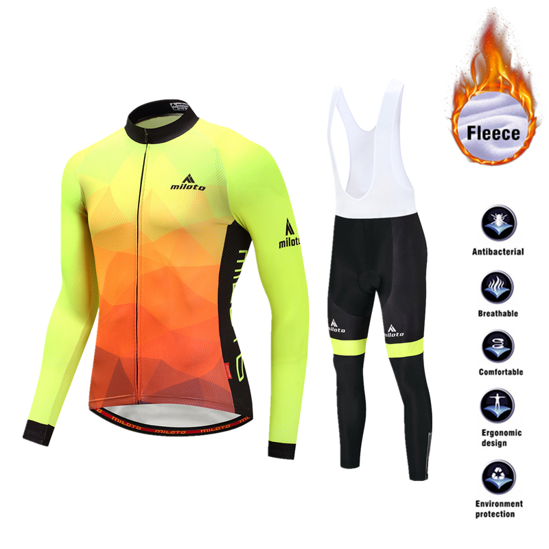 Men s Winter Thermal Cycling Clothing Set Bicycle Fleece Jersey Suits Long Sleeve Jersey With Bib