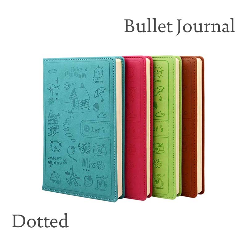 Dot Grid Hard Cover Creative Notebook Stationery Diary Business Cartoon Lovely Dots Inner Dotted Bullet Journal Bujo 1 110 dot to dots