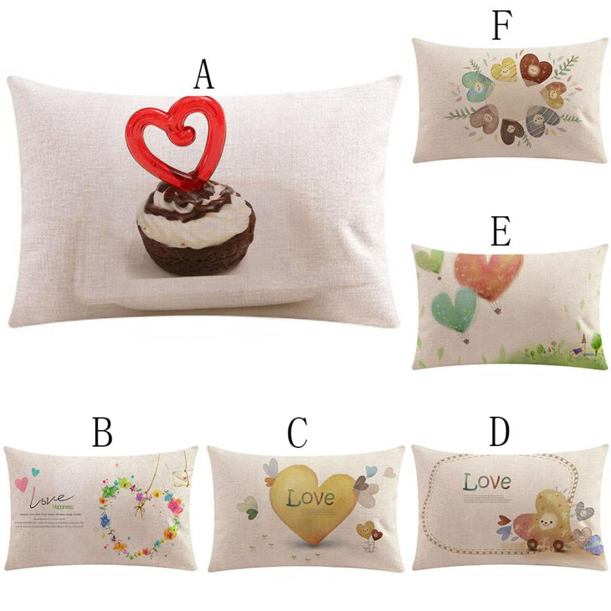 2018 Pillow Case 50*30 Happy Valentine Pillows Cover Sofa Waist Throw Cushion Home Decor Rectangle Free Drop Shipping JA24