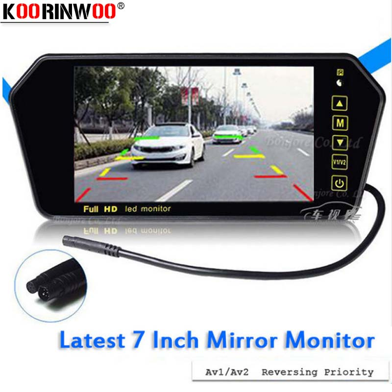 Koorinwoo Car 7 TFT LCD Monitor Mirror for DVD/Reverse camera Colorful Video Rearview Screen Vehicle Display Parking Assistance 400a 4 0 tft lcd digital monitor for vehicle parking reverse camera 1440x272 12v dc