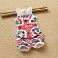 Детская Одежда Хлопок М-Флаг Американский Флаг Шаблон Комбинезон Baby Boy Cltothes Девочка Жилет Шорты Повседневная Дети Chlidren Набор