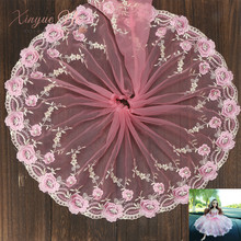 Hot 20cm/1yard Pink Embroidery Net Lace Fabric Tissu Costura Mesh Tulle Guipure Cord Lace Sewing DIY Doll Accessories Skirt lace fabric 1yard lot high quality lace trim embroidery mesh lace ribbon tulle guipure cord lace sewing diy doll cloth