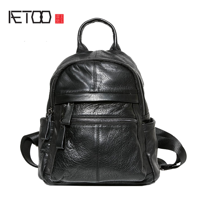 AETOO Leather backpack female new wild school bag handmade first layer leather black large capacity backpack tide aliwilliam 2017 new backpack female wild retro embroidery tide ladies backpack multi functional package college style female bag