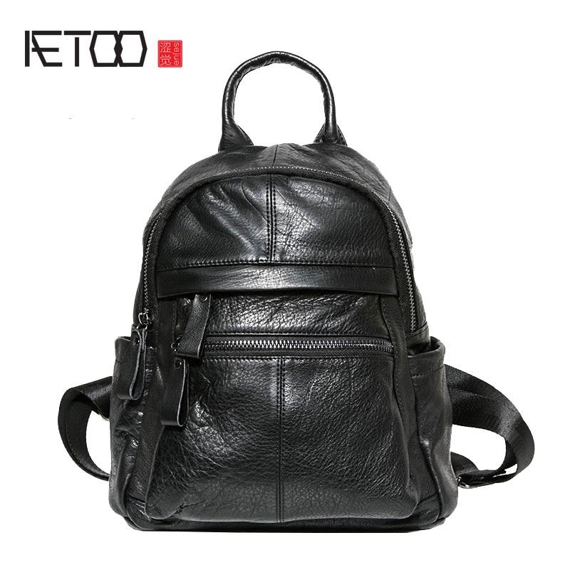 AETOO Leather backpack female new wild school bag handmade first layer leather black large capacity backpack tide aliwilliam 2017 new backpack female wild
