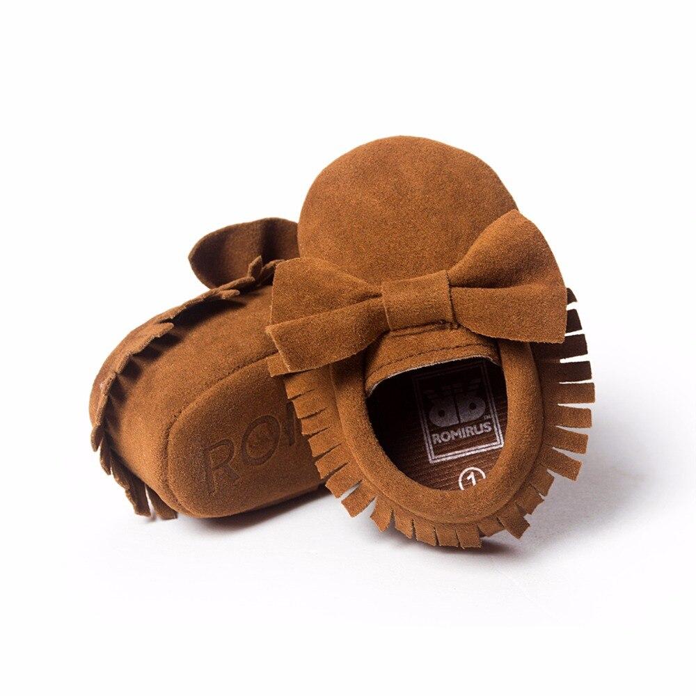 Sepatu bayi PU kulit Padat rumbai Buram, kupu-simpul Bayi Baru Lahir - Sepatu bayi - Foto 4