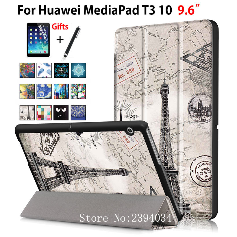Case For Huawei MediaPad T3 10 AGS-W09 AGS-L09 AGS-L03 9.6 Cover Funda Tablet for Honor Play Pad 2 9.6 Slim Flip Case+Film+Pen cover case for huawei mediapad t3 10 ags l09 ags l03 9 6tablet pc stand slim case for honor play pad 2 9 6 free 3 gifts