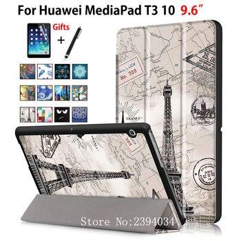 Case For Huawei MediaPad T3 10 AGS-L09 AGS-L03 9.6 inch Cover Funda Tablet for Honor Play Pad 2 9.6 Slim Flip PU Case+Film+Pen лоток для бумаг вертикальный металлический