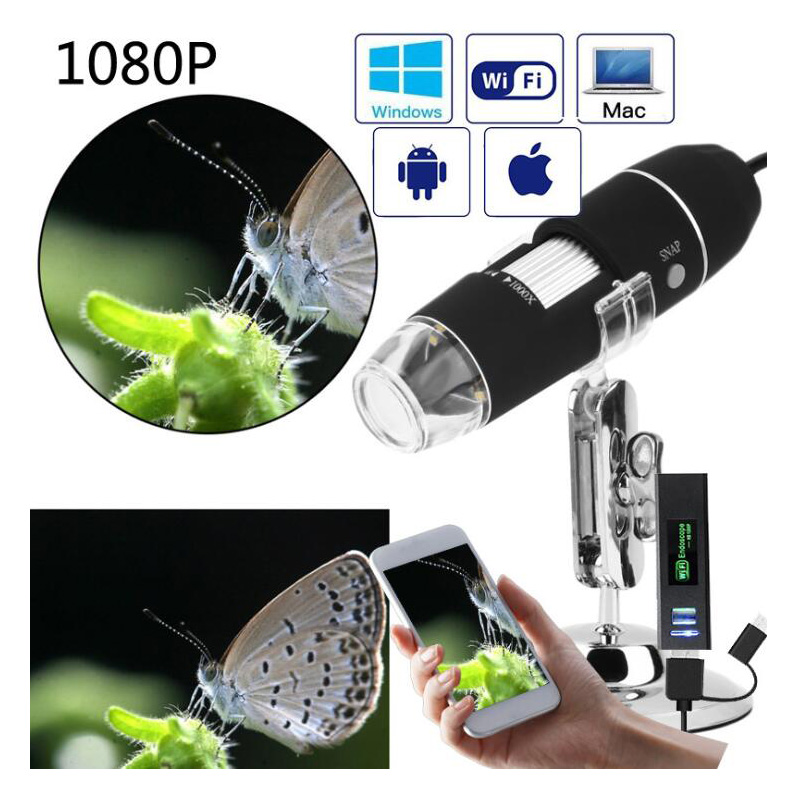 1080P 1000X WiFi digital mikroskop Iphone handy für Android 8 LED 3in1 digital mikroskop USB endoskop zoom kamera image