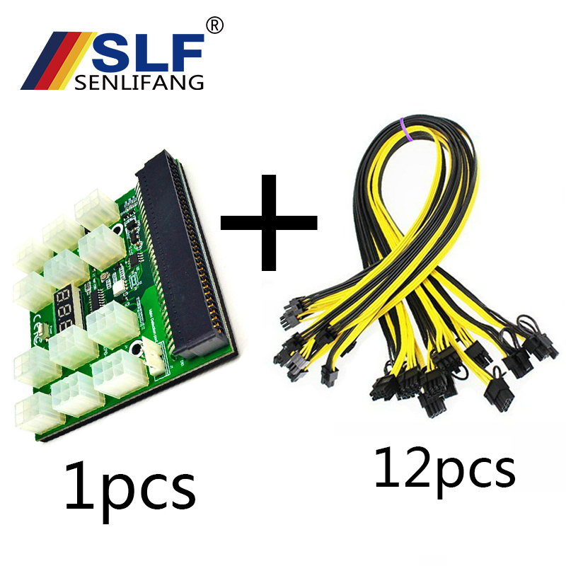 Adapter Breakout Board w 12Pcs 6Pin Power Cable for HP 1200W 750W PSU GPU Minin PCI-E 12V 64Pin to 12x 6Pin Power Supply Server psu gpu power adapter breakout board 12v ethereum eth zec devices mining power supply 12pcs 18awg pci e 6pin to 6 2pin cables