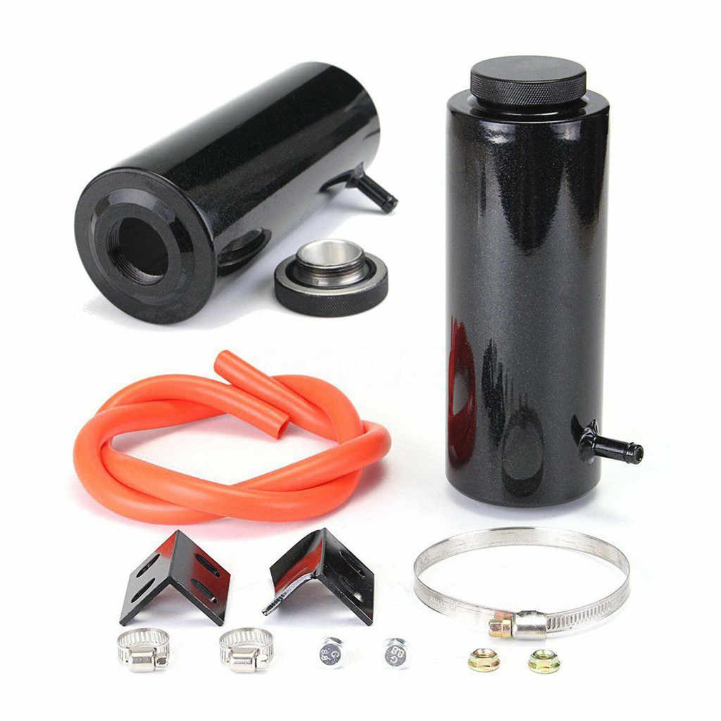 800 Ml Cylinder Aluminum Radiator Coolant Overflow Catch Can Tank Reservoir Container Kit Sport Styling for Universal Car OCC018,Silver